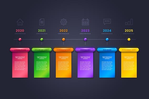 Realistische glossy timeline infografik