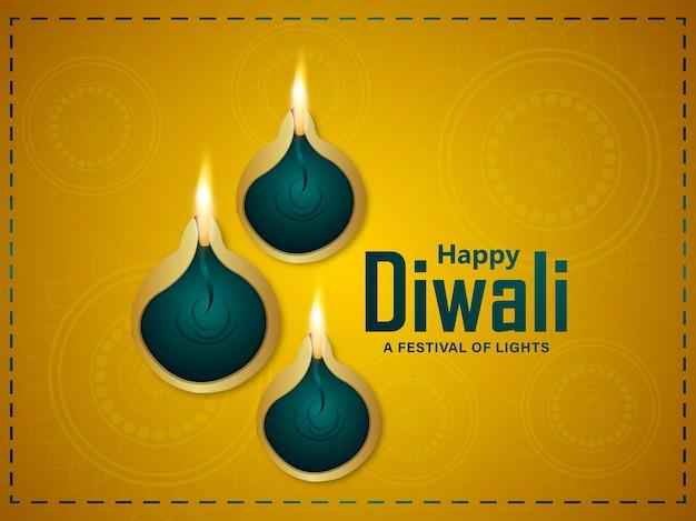Realistische glückliche diwali-einladungs-grußkarte