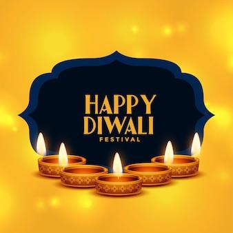 Realistische glückliche diwali-karte mit diya-dekoration