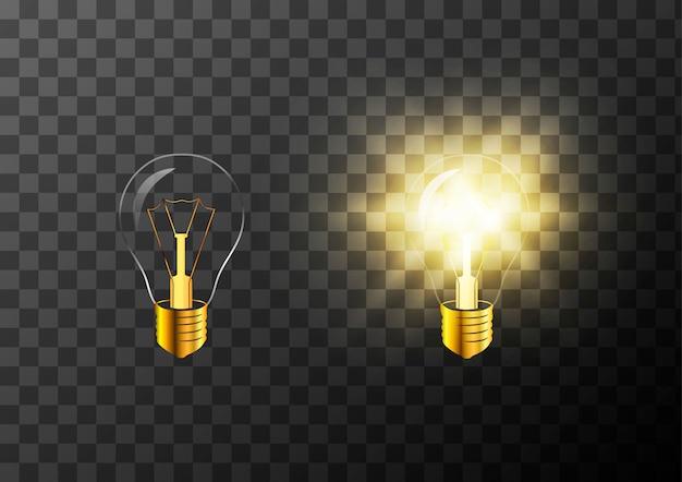 Realistische glühbirne auf transparent ein- und ausschalten