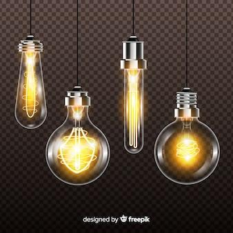 Realistische glühlampen auf transparentem hintergrund