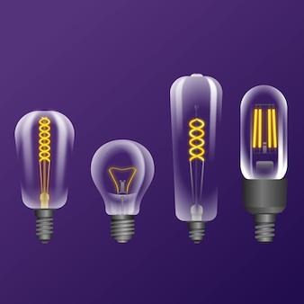 Realistische glühlampen mit faden