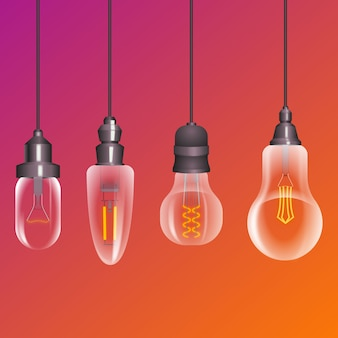Realistische glühlampensammlung