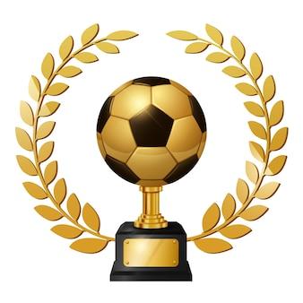 Realistische gold soccer ball trophy mit gold lorbeerkranz