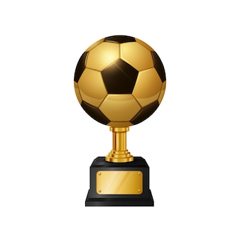 Realistische gold soccer ball trophy