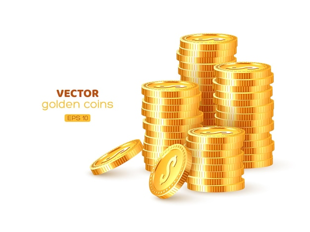 Realistische goldene 3d-stapel von münzen. goldgeld mit dollarzeichen isoliert