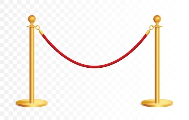 Realistische goldene barrikade mit rotem seil, goldene seilsperre