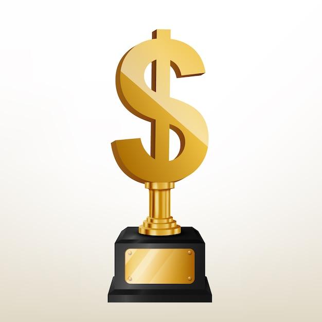 Realistische goldene dollar-trophäe