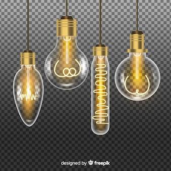Realistische goldene glühbirnen