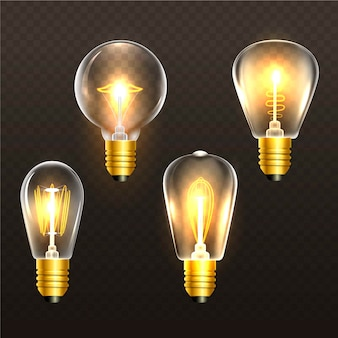 Realistische goldene glühlampen auf transparentem hintergrund