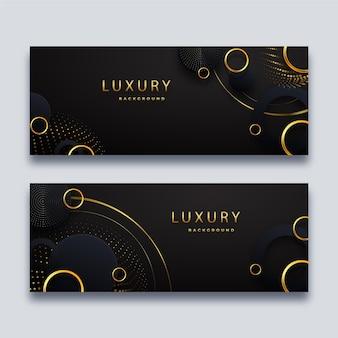 Realistische goldene horizontale luxusfahnen eingestellt