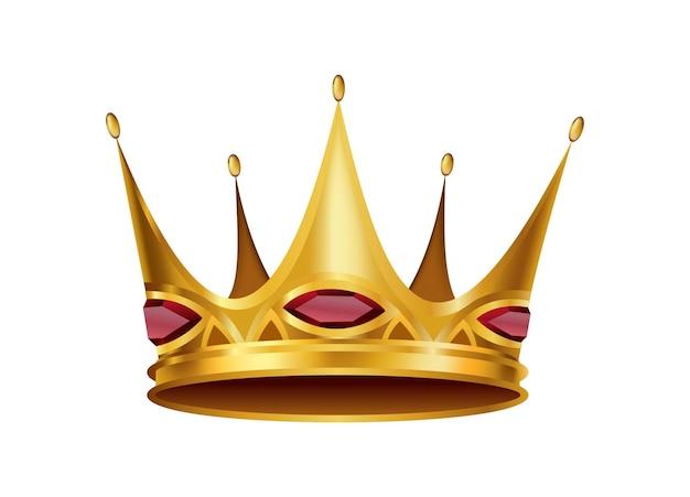 Realistische goldene krone. krönender kopfschmuck für könig oder königin. symbol der königlichen edlen aristokratenmonarchie. monarch heraldische dekoration.