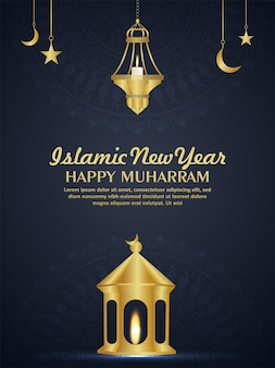 Realistische goldene laterne für ein glückliches islamisches neues jahr