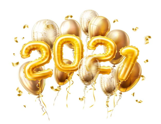 Realistische goldene luftballons 2021 mit konfetti