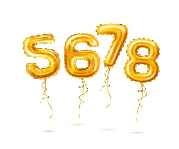 Realistische goldene luftballons 5 6 7 8 zahlen mit quaste. numerische symbole für geburtstagsfeier