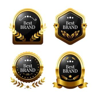Realistische goldene luxusetiketten