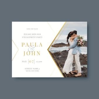 Realistische goldene luxushochzeitseinladungsschablone mit foto