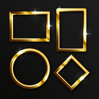 Realistische goldene luxusrahmen