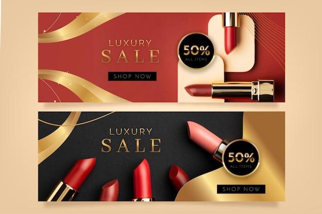 Realistische goldene luxusverkaufsfahnen mit foto
