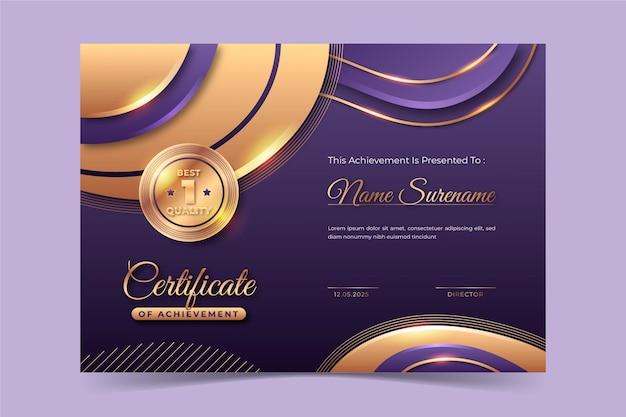 Realistische goldene luxuszertifikatvorlage