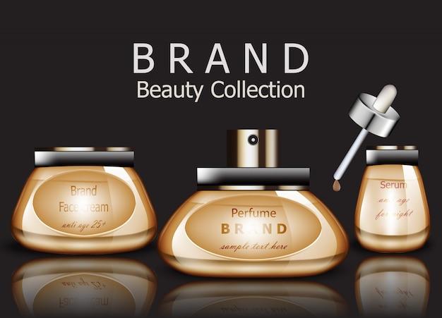 Realistische goldene parfümprodukte