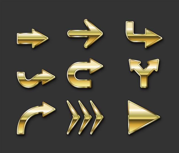 Realistische goldene pfeile gesetzt kostenlosen vektoren
