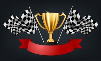 Realistische goldene Trophäe mit Checkered Flag Racing