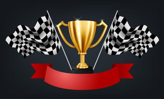 Realistische goldene trophäe mit checkered flag racing