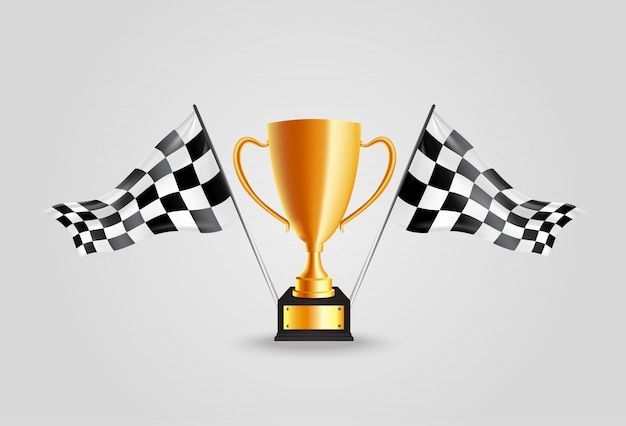 Realistische goldene trophäe mit flaggenrennenmeisterschaft