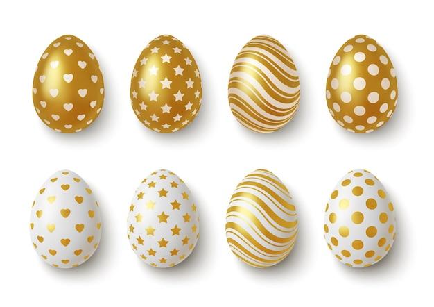 Realistische goldene und weiße ostereier mit geometrischen verzierungen