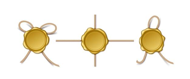 Realistische goldene wachsstempel mit seil. set von retro-dichtungen isoliert auf weißem hintergrund. leere königliche post- und postzeichen oder sicherheitssymbole. vektor-illustration