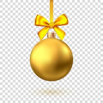 Realistische goldene weihnachtskugel mit schleife und band lokalisiert