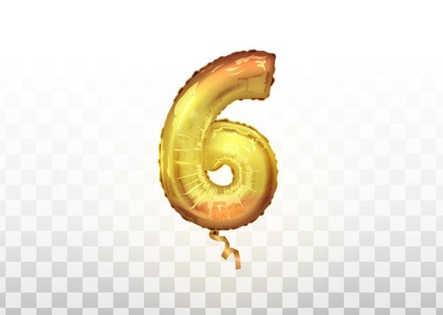 Realistische goldfarbe aufblasbarer luftballon abbildung 6 auf transparentem hintergrund. vector realistische lokalisierte goldene ballonnummer von 6. vektor-illustration. eps10