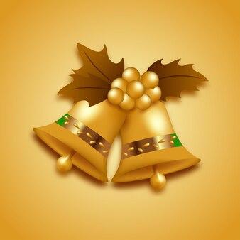 Realistische goldfarbene weihnachtsglocke