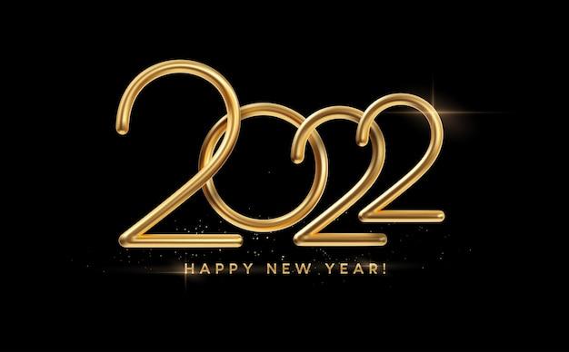 Realistische goldmetallinschrift 2022. goldkalligraphie neujahr 2022 schriftzug auf schwarzem hintergrund. gestaltungselement für werbeplakat, flyer, postkarte. vektorillustration eps10