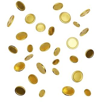 Realistische goldmünzen auf weißem hintergrund. fallendes oder fliegendes geld. jackpot- oder casino-poker-gewinnelement. bargeld-schatz-konzept. vektor-illustration