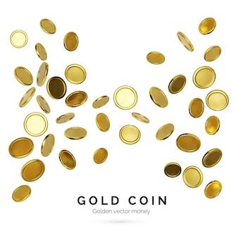 Realistische goldmünzen auf weißem hintergrund. jackpot- oder casino-poker-gewinnelement. bargeld-schatz-konzept. fallendes oder fliegendes geld. vektor-illustration