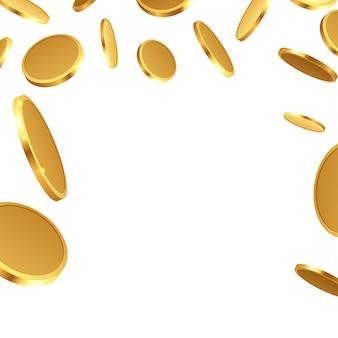 Realistische goldmünzen fallen isoliert herunter