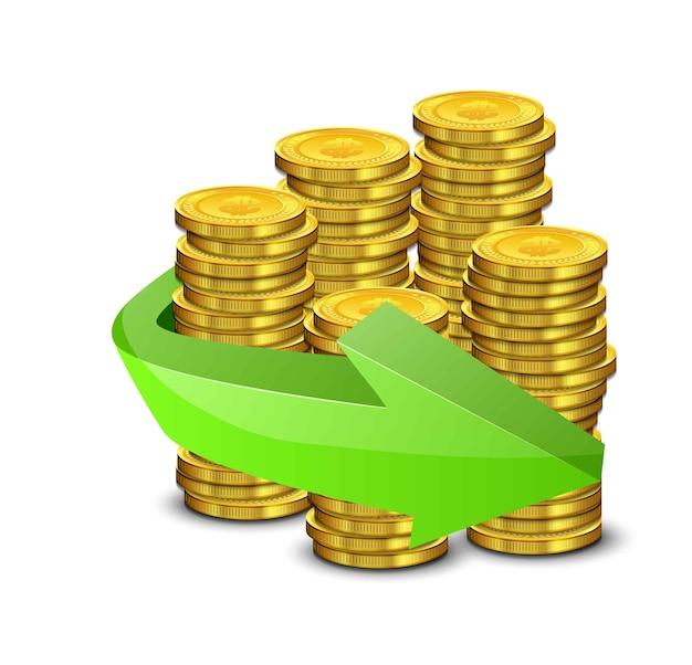 Realistische goldmünzen und grüner pfeil auf einem weißen hintergrund