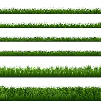 Realistische grasgrenzen. grüne gartenkrautpflanze, feldrasenfrisches rasenelement, üppiges wiesengartenlaub nahtloses grenzset. natürliche blumenvegetation sommer, frühlingsrahmen