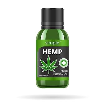 Realistische grüne glasflasche mit cannabis.