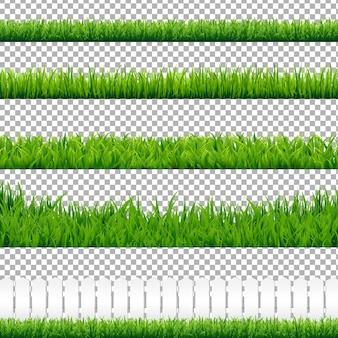 Realistische grüne grasgrenzen, isoliert