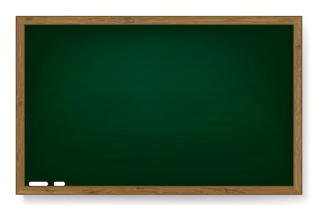 Realistische grüne tafel mit holzrahmen, leere schultafel für das klassenzimmer, ausgeriebener hintergrund, schmutzige tafel, vektor