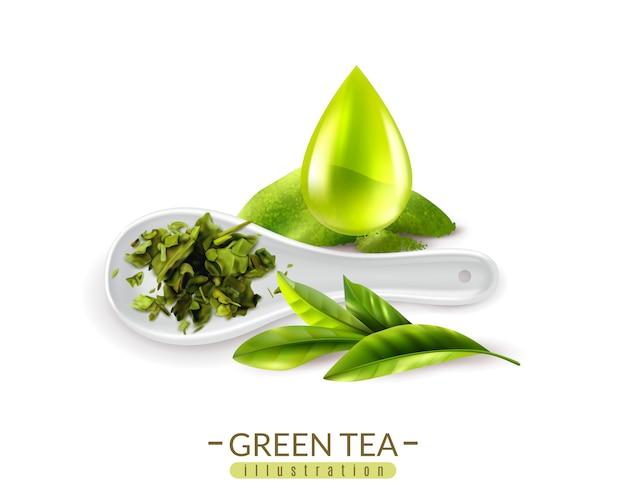 Realistische grüne tee- und löffel- und tropfenvektorillustration