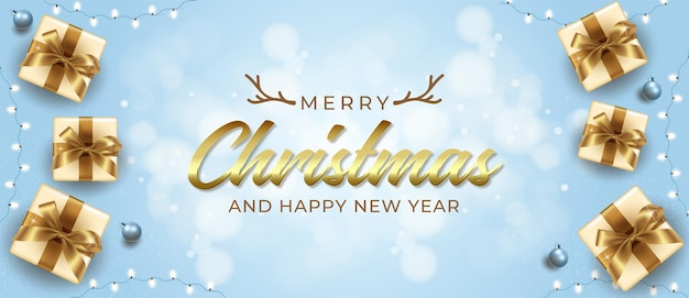Realistische grußfahne mit neuem jahr und frohen weihnachten