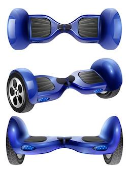 Realistische gyro scooter 3 bilder set