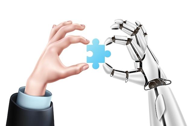 Realistische hände des roboters und des geschäftsmannes, die puzzleillustration halten