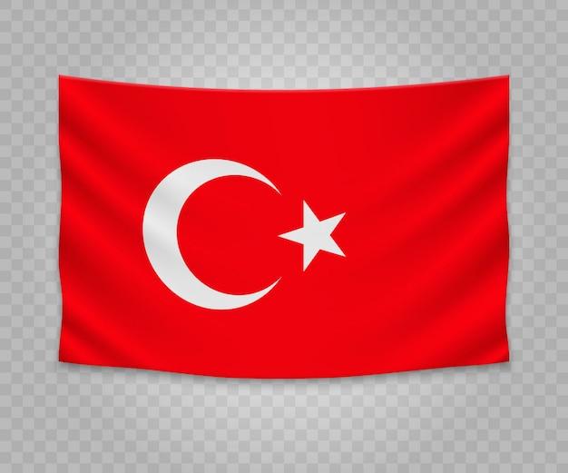 Realistische hängende flagge der türkei