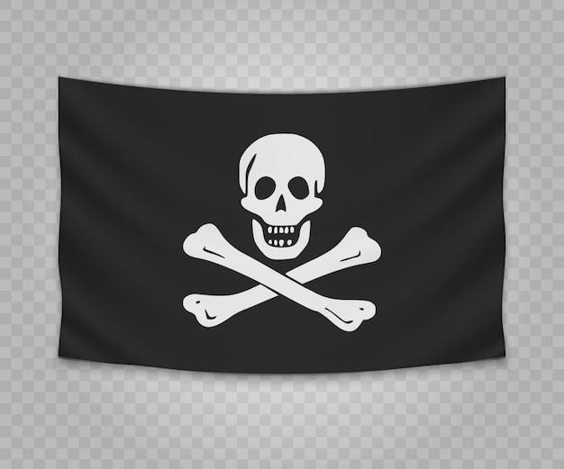 Realistische hängende flagge des piraten jolly roger