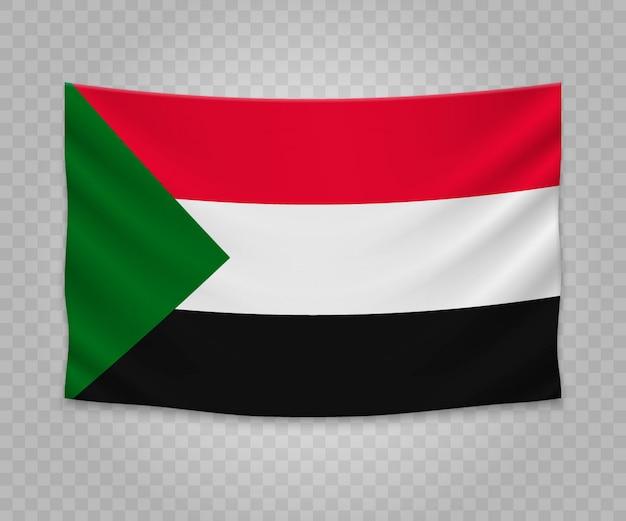 Realistische hängende flagge des sudan